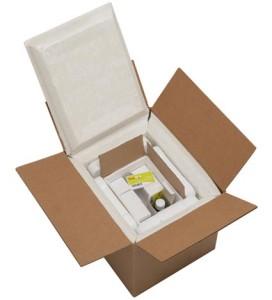 Caixa com cartão de monitoramento de temperatura TempTrip®. Divulgação Sealed Air