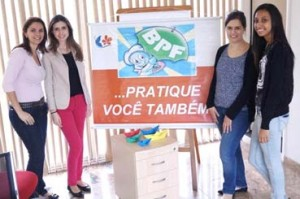 Patricia Francisco (esquerda), Ana Carolina Cunha, Fernanda Sena e Sara Ferreira – colaboradoras da Garantia da Qualidade.